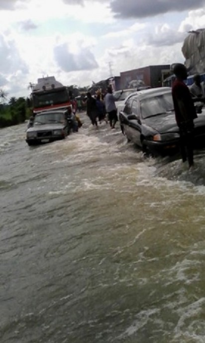 East-West Road submerged by flood