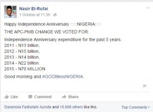 El-Rufai's Facebook post on Jonathan's spending for Independence Anniversaries (2011-2014)