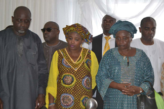 Grandchildren,From left,Olumide Oyediran,Ladi Soyode,Mrs Yemisi Subair,Mrs Kemi Aderemi and Barrister Segun Awolowo.DURING THE LAYING-IN STATE OF MAMA HID AWOLOWO AT PARK LANE,APAPA,LAGOS.PHOTO BY AKEEM SALAU