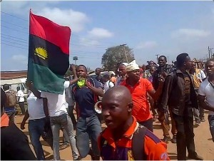 POB potesters grounding Onitsha, the commercial city of Anambra State, South-east Nigeria, during their 1 Million March, to call for the immediate release of their leader, Nnamdi Kanu. Kanu was arrested by the Department of State Services, DSS, on his way into Nigeria from UK