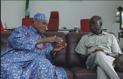 File Photo: The Esama of Benin, Chief Gabriel Igbenedion and Gov. Adams Oshiomhole, when the later visited him.