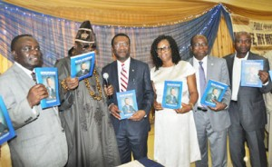 """BOOK PRESENTATION: From left: Executive Secretary, National Universities Commission, NUC, Prof. Peter Okebukola, Oba of Lagos, Oba Rilwan Akiolu, Former Chief Medical Director, LUTH, Prof Akin Osibogun, his wife, Beatrice, Vice Chancellor University of Lagos ,Prof Rahamon Bello, and Commissioner for Health, Lagos State Dr. Jide Idris at the public presentation of a book """"My life, My Medicine: A Chief Medical Director's Story"""" written by Prof. Osibogun recently in Lagos."""