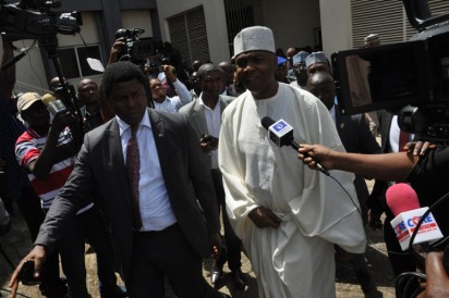 Bukola Saraki in Court: Senate President Bukola Saraki at Code of Conduct Tribunal shortly after his lawyers walkout of the Court during court sitting in Abuja. Photo by Gbemiga Olamikan.