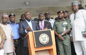 Lagos State Governor, Mr. Akinwunmi Ambode (3rd left), addressing Government House Correspondents on the Security and Traffic Situation in the State, at the Lagos House, Ikeja, on Friday, November 06, 2015. With him are (L-R): Commissioner for Transportation, Dr.  Dayo Mobereola, State Commissioner of Police, Mr. Fatai Owoseni, Attorney General & Commissioner for Justice, Mr. Adeniji Kazeem, Commander 435 Base Service Group, Ikeja, Air Commodore Danladi Santa Bausa, Commander, 9 Mechanized Brigade, Brigadier General Ahmed Mohammed Sabo, Director, State Security Service, Mr. Adekunle Ajanaku.