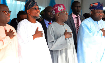 Governor State of Osun, Ogbeni Rauf Aregbesola (2nd left), Lagos State Governor, Akinwunmi Ambode (right), All Progressive Congress, National Leader, Senator Bola Hamed Tinubu (2nd right)and Member House of Rep. Ikorodu 1&2 lagos State, Hon. Jimi Benson (right) during the Official Commissioning & Launch of the Mile 12-Ikorodu Road Widening and Bus Rapid Transit (BRT) Operation at BRT Depot, Majidun, Ikorodu on Thursday 12