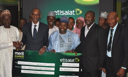 L-R: Director, Counseling Centre, Ahmadu Bello University (ABU), Zaria, Adisa Salman; Vice President, Regulatory and Corporate Affairs, Etisalat Nigeria, Mr. Ibrahim Dikko; Dean Student Affairs, ABU, Prof. Mohammed Sani; HOD, Department of Electrical and Computer Engineering, ABU, Prof.Mohammed Bashir, and the Deputy Director, Colleges of Education, Federal Ministry of Education, Mr. Ezekiel Funsho at the 2015 Etisalat Merit Awards held in Abuja on Thursday, November 12