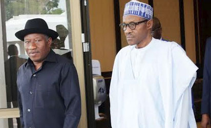 Former President Goodluck Jonathan (L) With President Muhammadu  Buhari, After A Close  Door Meeting At The Presidential Villa In Abuja On Monday (2/11/15).