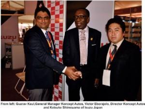 •Guarav Kaul, GM, Koncept Autos, Victor Eborajolo, Director, Koncept  Autos and Keisuke Shimoyama of Isuzu Japan at Lagos Trade Fair recently.