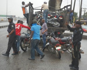 Rapid Response Squad (RRS) on Special Traffic Enforcement at Mile 2, Oshodi-Apapa Expressway, on Monday.