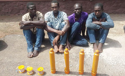 Ogun State Police Command yesterday paraded four suspected bank robbery syndicate with explosive devices allegedly meant for operation in Ijebu -Ode