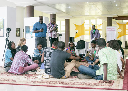 A workshop session for young writers at the festival