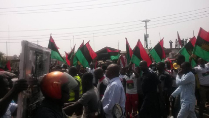 Pro-Biafra protesters during a mega rally at the Alaba International Market, Ojo LGA, Lagos, on Wednesday, 16/12/2015