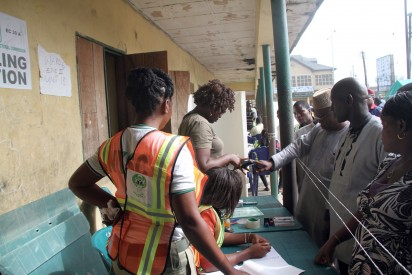 File: A Voter being Accredited by an INEC Official at unit 18 Ward 6 Amarata, Yenegoa  during the Bayelsa State Governorship Election. Photo: Nwankpa Chijioke