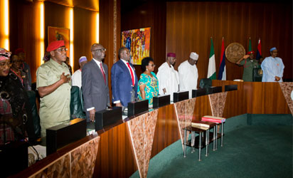 File:  L-R Minister of Women Affairs Aisha Jummai AL-Hassan, Minister of Youth and Sports Solomon Dalong, Deputy Chief of Staff Mr Ade Ipaye, National Security Adviser Major- Gen. Babagana Monguno, Head of Service of the Federation Winifred Ita-Oyo, Chief of Staff to the President Abba Kyari, Secretary to the Government of the Federation (SGF) Engr. Babachir David Lawal and President Muhammadu Buhari during the Federal Executive Council meeting, held at the Presidential Villa on 7th Nov 2015