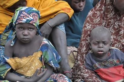 Bama IDP Camp: Children at Bama IDP Camp in Maiduguri during Minister's Tour of Bama . Photo by Gbemiga Olamikan.