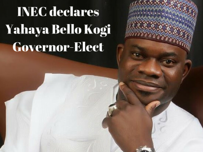 ININEC declares Yahaya Bello Kogi Governor-Elect