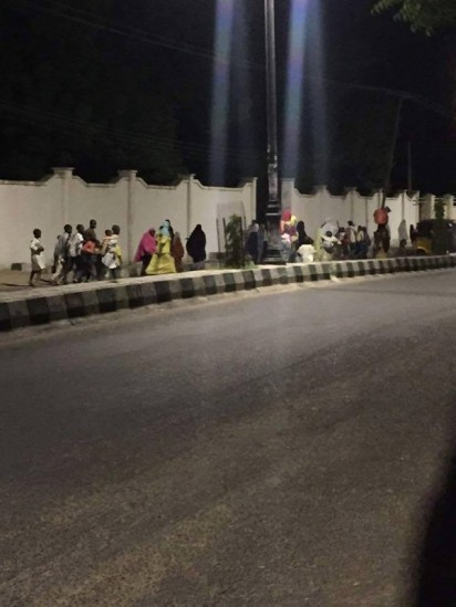 Residents are currently fleeing with their Children as reported by Mike Amadi at the scene in Maiduguri.