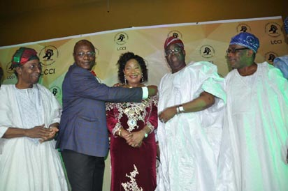 From left, Past President, Lagos Chamber of Commerce and Industry, LCCI, Dr. Ademola Ajayi; Immediate Past President, LCCI, Alhaji Ismaila Bello; New President, LCCI, Chief Nike Akande; her husband, Chief Adebayo Akande, and another Past President, Chief John Odeyemi, during the investiture of Chief Akande as the new President of LCCI, in Lagos, yesterday. Photos: Bunmi Azeez