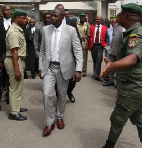 Former DG of NIMASA, Patrick Ziadeke Akpobolokemi (centre) being led out of court after his arraignment by EFCC in Lagos, yesterday