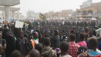 Shiite members protest killing of members by soldiers in parts of Kaduna on Tuesday, December 15, 2015