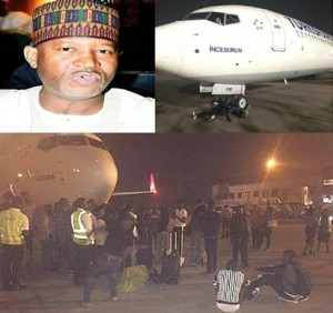Minister of State for Aviation, Hadi Sirika (Top left) and the scene of the protest by passengers of Turkish Airlines