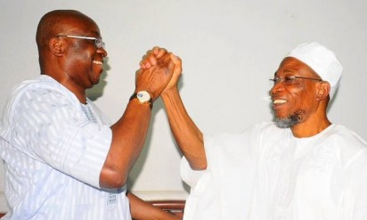 HISTORIC VISIT: Ekiti State Governor, Ayodele Fayose, when he visited Governor Rauf Aregbesola of Osun State, in Osogbo, the Osun State capital on Tuesday, January 26, 2015