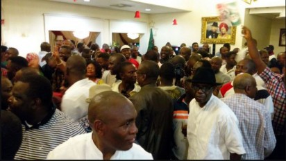 Supporters of Seriake Dickson celebrating his victory on Sunday