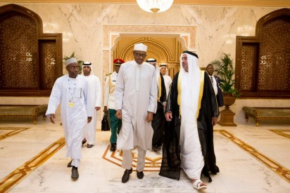President Buhari being received by Sheikh Sultan Bin Zayed- 3rd Deputy Prime Minister of the United Arab Emirates.
