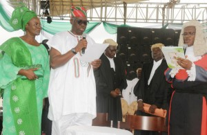Fayose and his wife, Feyisetan during his inauguration as Governor of Ekiti State in 2014.