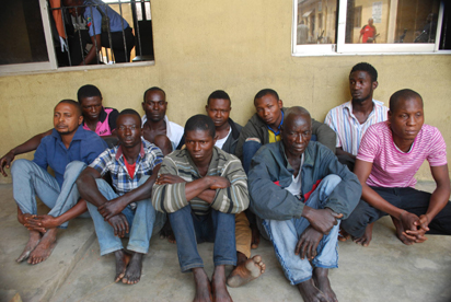 ARRESTED: Some of the suspects arrested in connection with the robberies at the National Theatre and Ijora area of Lagos State.