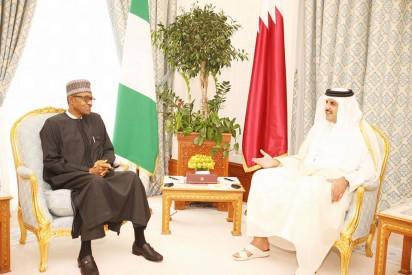 President Muhammadu Buhari in a chat with the Emir of Qatar, Sheikh Tamim Bin Hammad Al-Thani at the Amiri Diwan (Emir's Office) in Doha, Qatar.