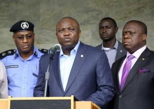 Lagos CP, Fatai Owoseni and Gov. Akinwunmi Ambode of Lagos State.