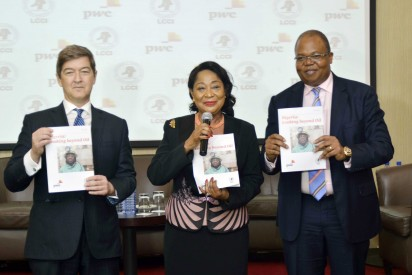 Mr. Andrew Nevin, Partner/Chief Economist, PwC Nigeria; Dr. Nike Akande, President, Lagos Chamber of Commerce and Industry (LCCI) and Mr. Uyi Akpata, Regional Senior Partner for PwC Nigeria and the West Market Area at the public presentation of Nigeria Looking Beyond Oil report in Lagos