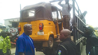 *A tricycle,aka keke, impounded at the instance of a mobile court