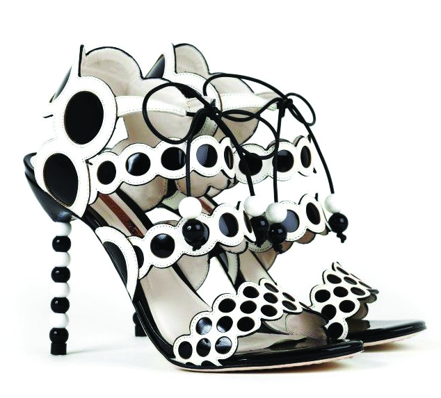 Sophia Webster black and white polka dot shoes
