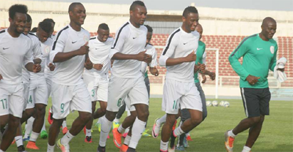 Super Eagles players loosening up after training in Kaduna yesterday.