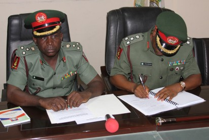 The Director General of the National Youth Service Corps (NYSC), Brig-Gen. Sule Kazaure and immediate past DG of NYSC, Brig-Gen. Johnson Olawumi
