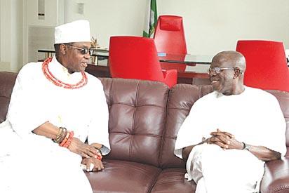 Comrade Adams Oshiomhole with Edaiken N'Uselu, Crown Prince Ehenede Erediauwa