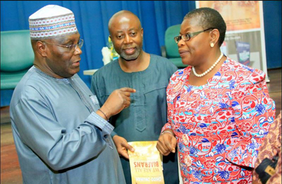 """Former Vice President, Atiku Abubakar; Author, Chido Onumah and former Education Minister, Dr. Oby Ezekwesili, at the launch of Onumah's book, """"We Are All Biafrans"""", in Abuja, on Tuesday, May 31, 2016."""
