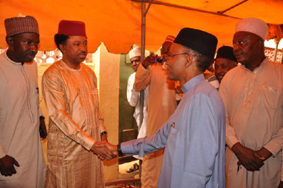 Governor Nasir El-Rufai of Kaduna State, during his visit on Tuesday, to condole with Senator representing Kaduna Central, Shehu Sani, over his mother's death, at his the Tudun Wada residence, in Kaduna.