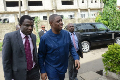 Ex-Aviation Minister, Femi Fani-Kayode arriving the EFCC Abuja office on Monday, May 9, 2016 for questioning
