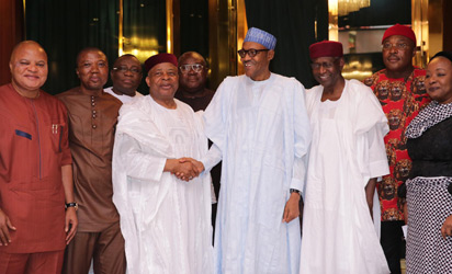 PRESIDENT BUHARI RECEIVES SOUTH-EAST GROUP FOR CHANGE 2. R-L; APC Chieftain, Lady Sharon Ikeazor, Chief of Staff, Mallam Abba Kyari, President Muhammadu Buahri, the former Senate President and Leader of South-East Group for Change, Senator Ken Nnnami, Senator Ifeanyi Arerume and other members of the SOUTH-EAST GROUP FOR CHANGE in audience with the President at the State House in Abuja. PHOTO; Abayomi Adeshida
