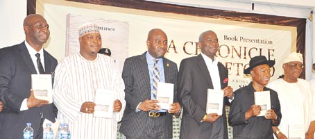 From left—Author, Mr. Sam Omatseye; Special Adviser on Media to Sokoto State Governor, Malam Imam Imam, representing Governor Aminu Tambuwal of Sokoto; Special Adviser to Governor Akinwumi Ambode of Lagos State on Education, Obafela Bank-Olemoh, representing the governor; Minister of Works, Power and Housing, Mr. Babatunde Fashola; Publisher, Vanguard Newspapers, and Chairman of the occasion, Mr. Sam Amuka, and former Governor of Ogun State, Aremo Olusegun Osoba, at the presentation of Omatseye's book, A Chronicle Foretold, on the theme Birth Pangs of a New Era, in Lagos. PHOTOS: Akeem Salau.