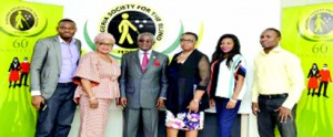 (L) Media Consultant, Federal Nigeria Society for the Blind, Fabwuni Akinola Riliwan, actress Sola Sobowale, Chairman FNSB,Asiwaju Fola Osibo, Vice Chairman FNSB,Mrs. Folashade Adefisayo and others during a media chat in Lagos.