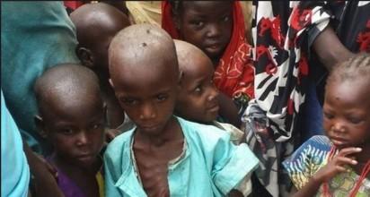 Malnourished children at Bama IDP camp, Borno