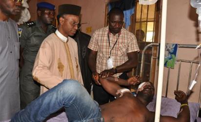 Emmanuel Olokpo with El-Rufai at the hospital in Kaduna