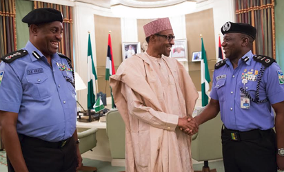President Buhari with outgoing Inspector General of Police Solomon Arase congratulate new Acting Inspector General of Police, Mr Ibrahim Kpotun Idris at State House