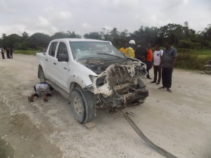 One of the attacked vehicles by militants in Cross River,State