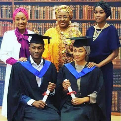 Yusuf and Zahra  alongside their mum, Aisha Buhari and sisters