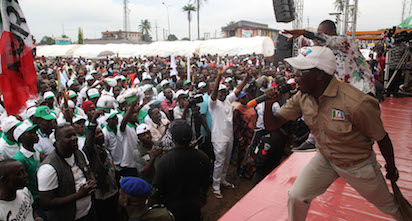 Governor Adams Oshiomhole addresses a rally of the All Progressives Congress (APC) during its gubernatorial campaign at Egor Local Government Area, on Wednesday.